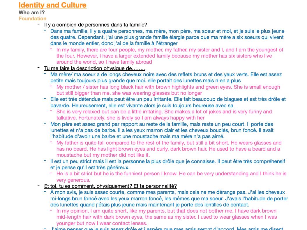 French GCSE 9-1 Edexcel Notes: Grammar & Vocab