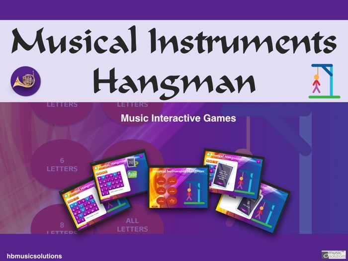 Musical Hangman Instruments Extended Interactive Game.