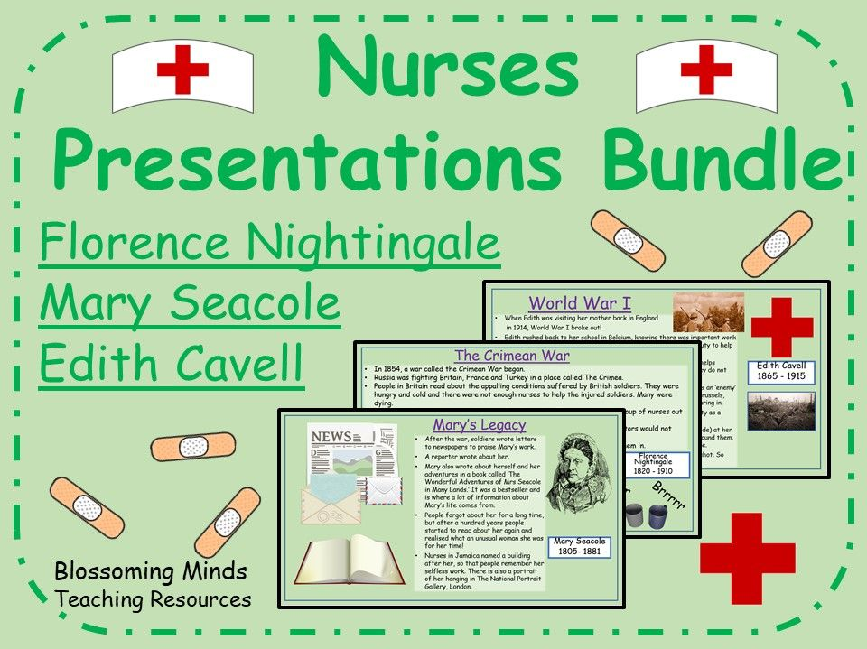 Pioneering Nurses History Presentations Bundle - Florence Nightingale, Edith Cavell, Mary Seacole