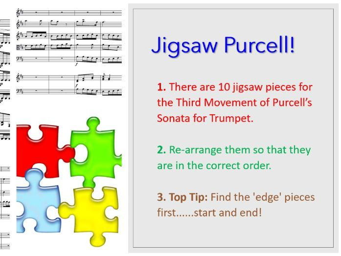 Purcell's Sonata for Trumpet and Strings 3rd mvt - Jigsaw Purcell!