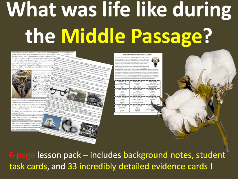 The Middle Passage - 6-page full lesson (notes, task cards, card sort)