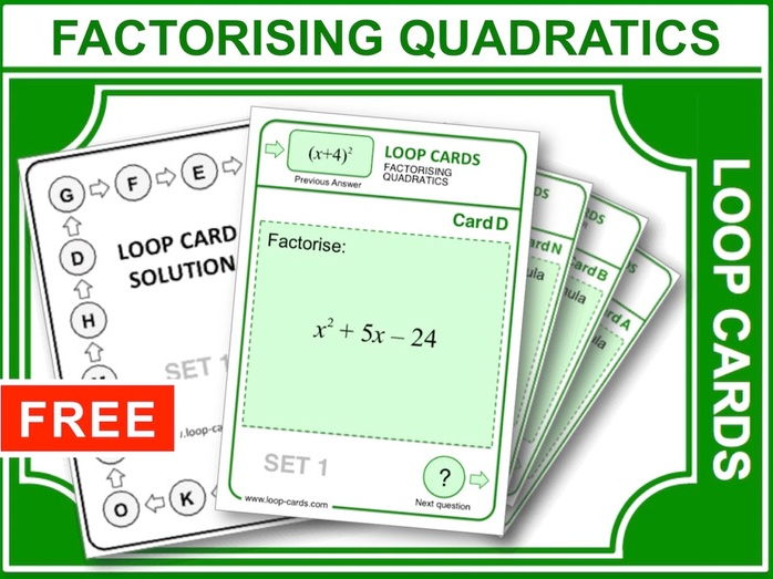 Factorising Quadratics (Loop Cards)