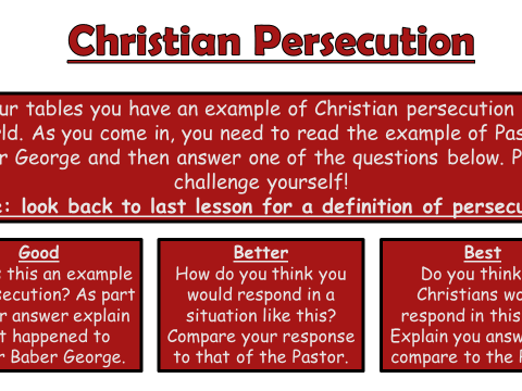 AQA A GCSE Christianity: Practices Lesson 12 Christian Persecution
