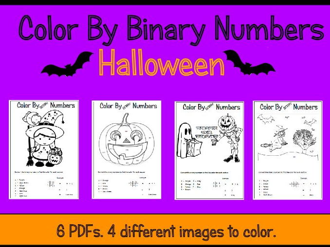 Halloween Color By Binary Numbers