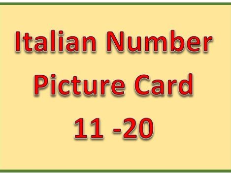 Italian Number 11 - 20