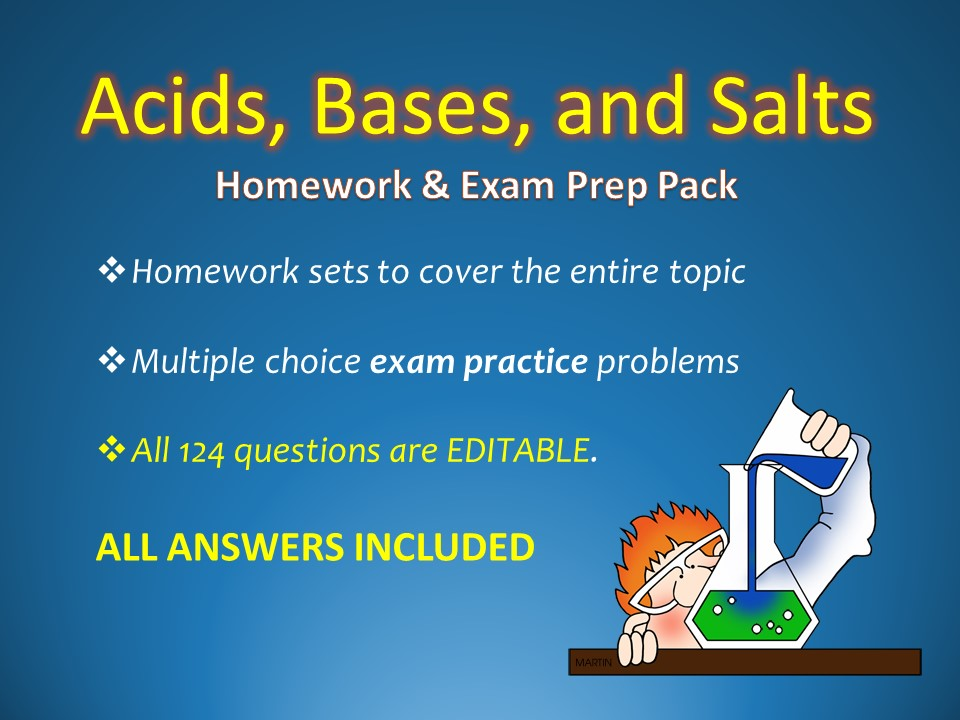 Acids, Bases, and Salts Homework, Worksheet, and Sample Test Question