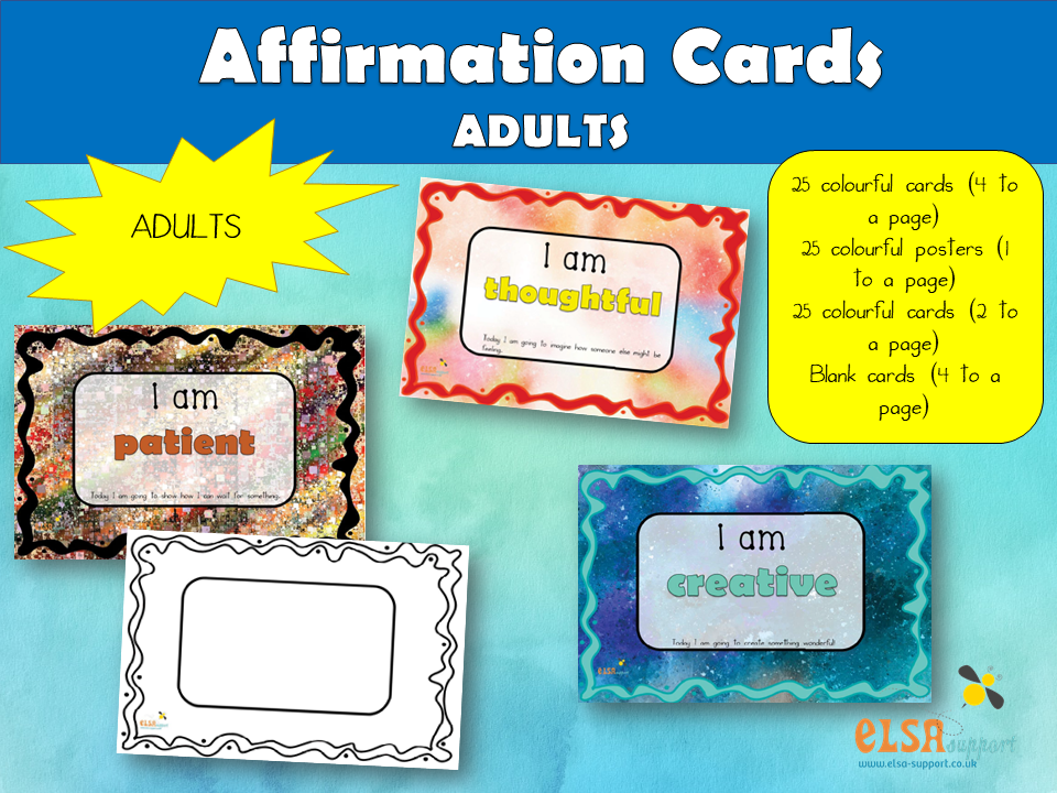 Affirmation Cards for young adults/adults - PSHE, Social and Emotional learning