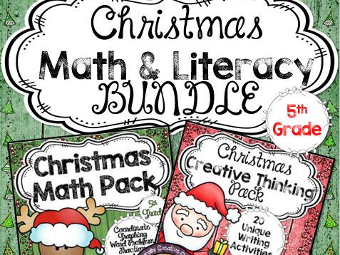 Christmas Math & Literacy BUNDLE for 5th Grade