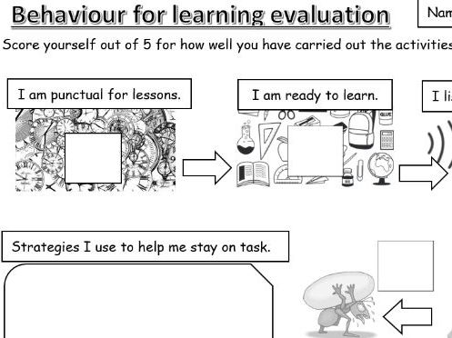 Behaviour for Learning pupil self-evaluation/assessment template.  Suitable for Primary/Secondary.
