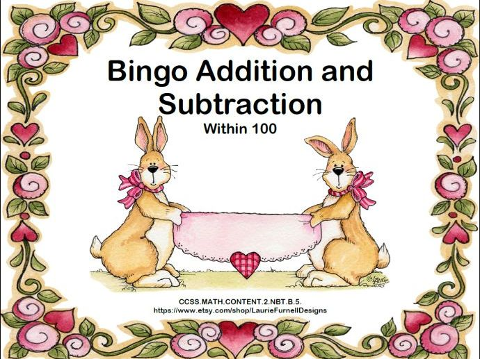 Addition and Subtraction within 100- Bingo-Valentine's Day Theme