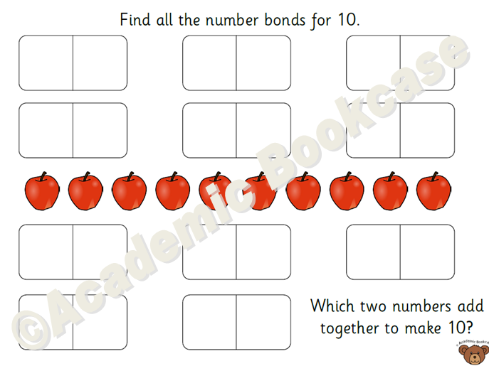 Number bond mats from numbers 1 to 10