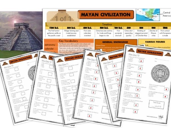 Mayan Civilization - Knowledge Organisers and Mini-Quizzes