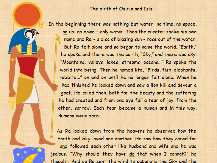 Ancient Egypt Myth Comprehension The Birth of Osiris and Isis