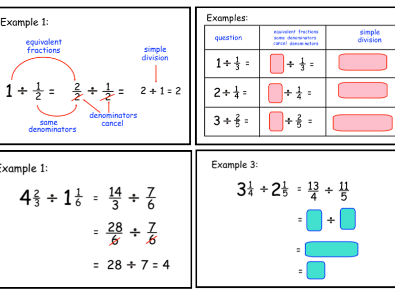 Dividing by a Fraction - Using Equivalent Fractions (ppt)