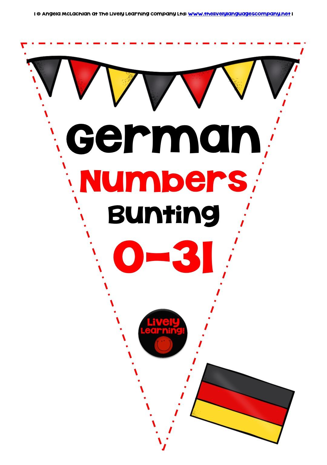 GERMAN NUMBERS 0-31 - BUNTING / BANNERS