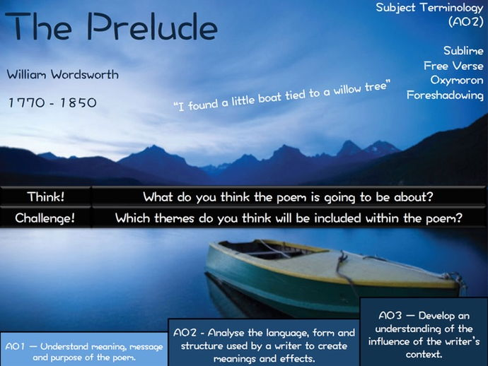 The Prelude - William Wordsworth -  Poetry Revision - Power and Conflict