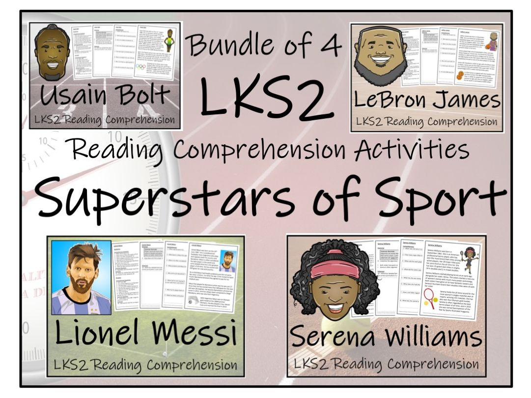 LKS2 Literacy - Modern Superstars of Sport Bundle of Reading Comprehension Activities