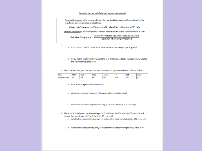 Expected Frequency and Relative Frequency Worksheet