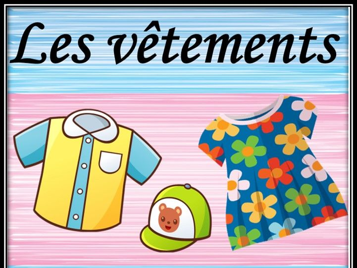 Clothes in French.  Dobble game. Les vêtements. Double jeu.
