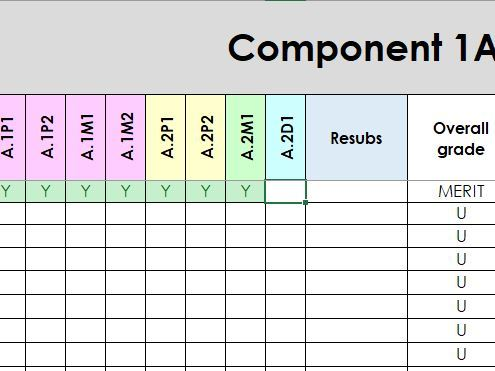 BTEC Level 1/2 Tech Award tracking sheet which calculates results