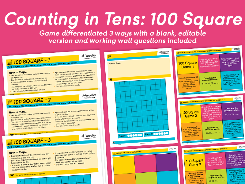 Counting in Tens: 100 Square Game (Differentiated)