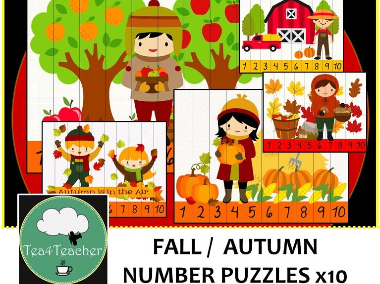 Fall Number Puzzles - Preschool Kindy Autumn Number Puzzles for Little People