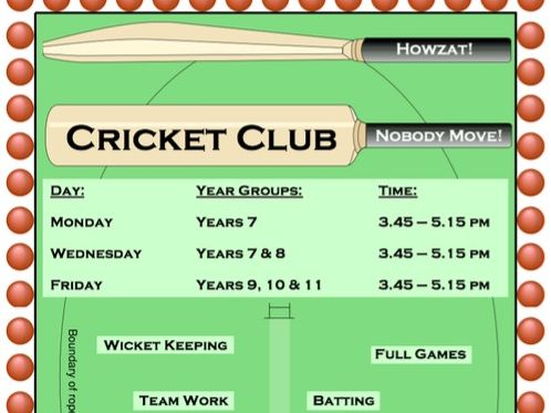 PE Dept - Cricket Club / Practice Poster