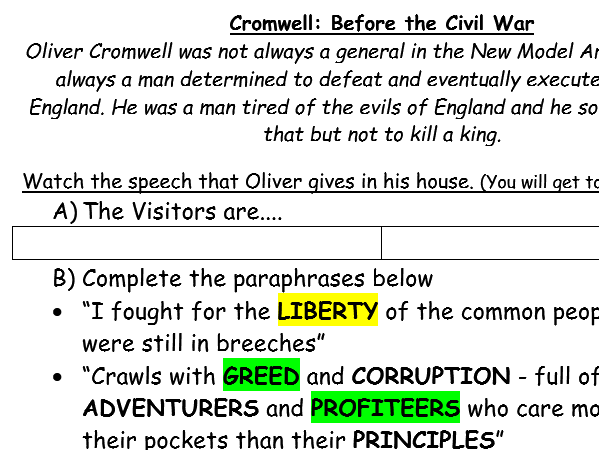 Causes of the English Civil War 4 Lessons