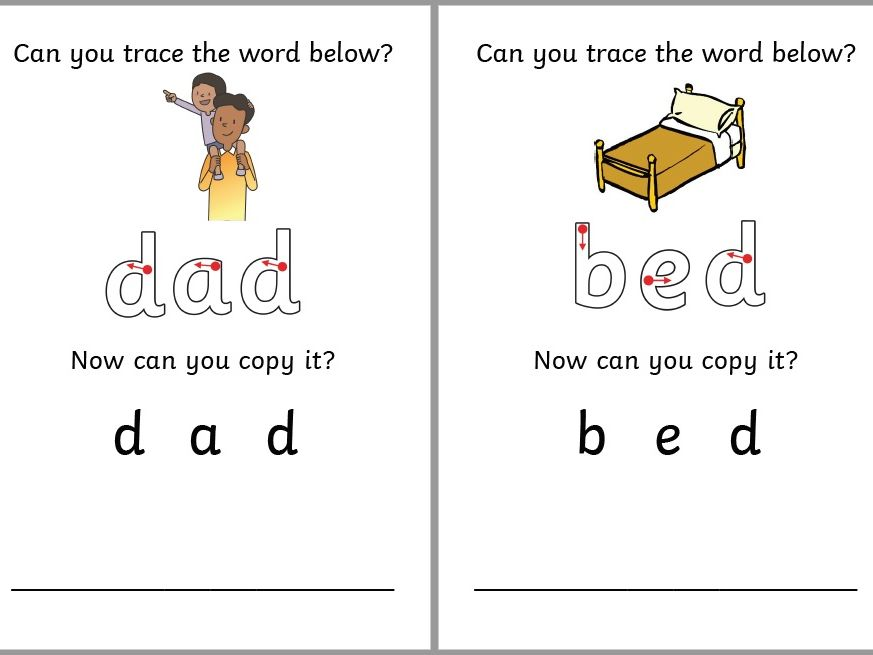 CVC Word Cards - Tracing and Copying