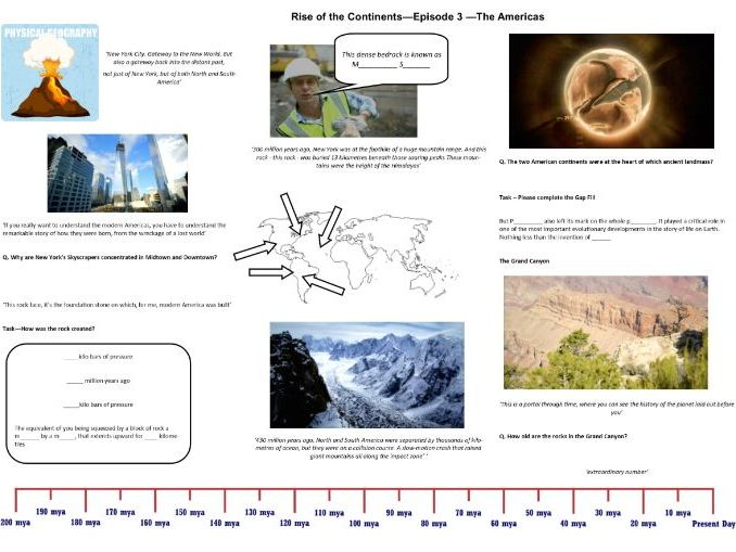 BBC - Rise of the Continents - Ep 3 The Americas  - Iain Stewart - Worksheet