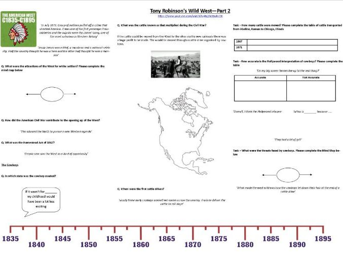 Tony Robinson's Wild West—Part 2 - Worksheet to support the Documentary