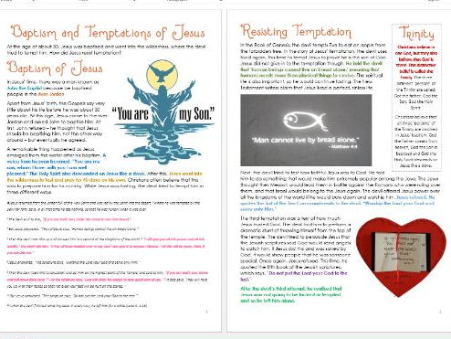 Baptism and Temptations of Jesus: Differentiated Activity Sheets