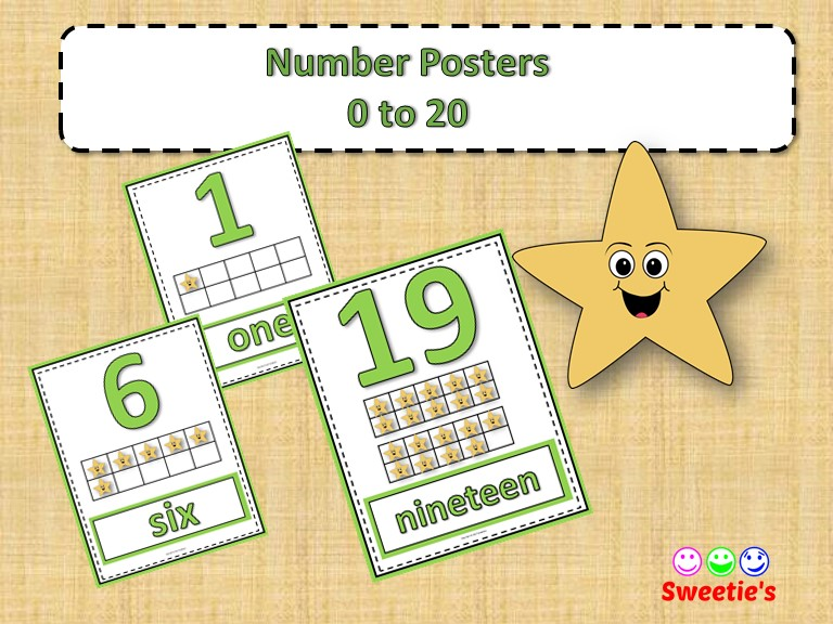 Number Posters 0 to 20 with Ten Frames