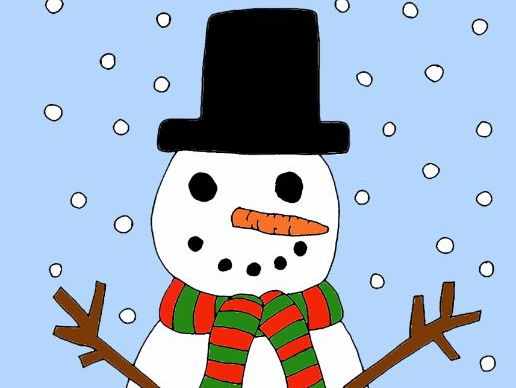 Christmas card -Let it Snow! Frosty the Snowman colouring page A4/A5