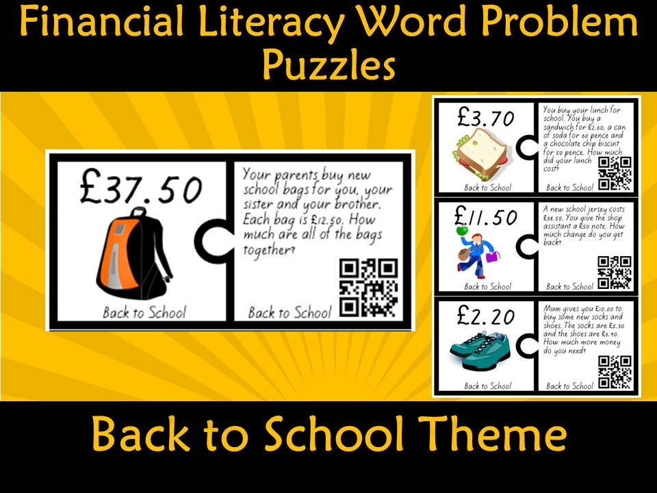 Financial Money Literacy Back to School Word Problem Puzzles (Pounds) QR Code