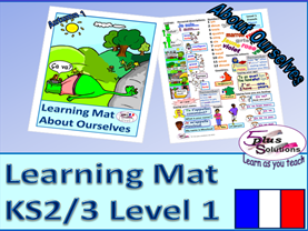 PRIMARY FRENCH VOCABULARY LEARNING MAT (KS2/3): greetings, name, nos 1-12 & age, colours, adjectives