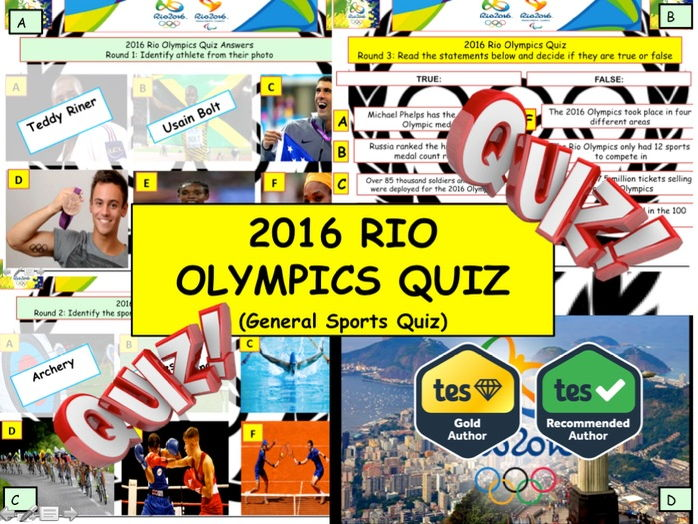 2016 - Rio Olympics Quiz  (Sports Quiz) - 7 rounds and 40+Qs' .Autumn Quiz End of term Quiz