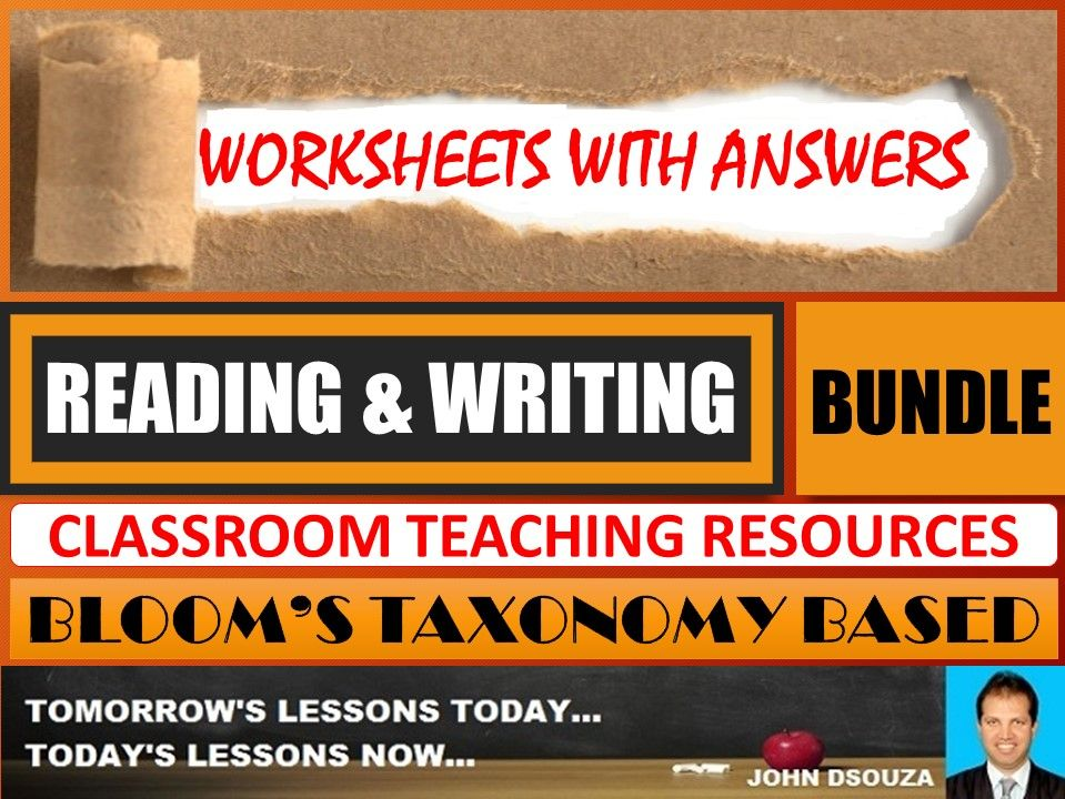 READING & WRITING: BLOOM'S TAXONOMY BASED WORKSHEETS WITH ANSWERS - BUNDLE