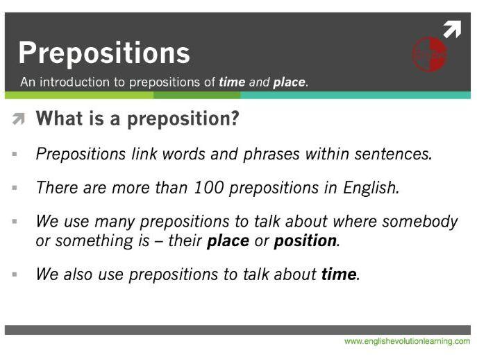 Prepositions for ESL Beginners