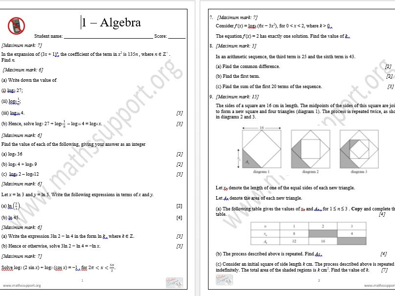 IB Standard Level revision, Topic 1 - Algebra, Non-calculator questions