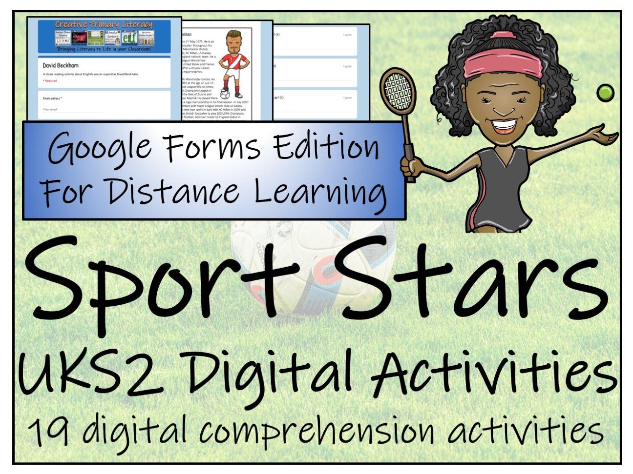 UKS2 Nineteen Sport Stars Reading Comprehension & Distance Learning Bundle