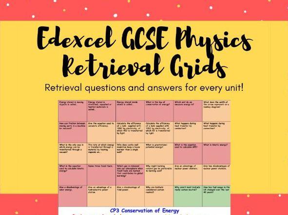 Edexcel GCSE Physics (Combined) Retrieval Grids
