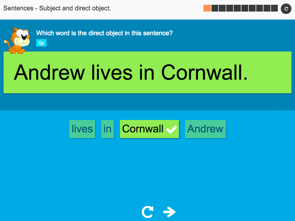 Subject and direct object - Interactive Activity - KS3 Spag