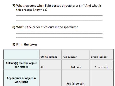 Light Quiz (KS3 level)