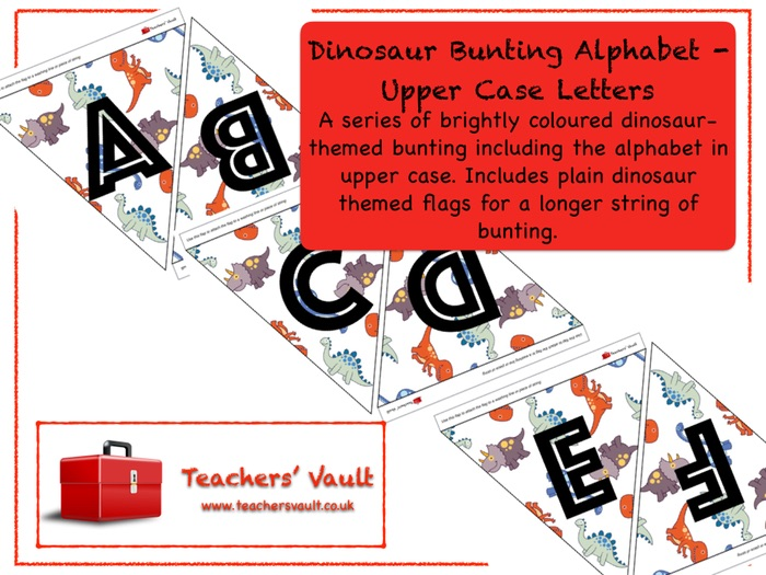 upper case letters dinosaur bunting alphabet letters by 25384 | Dinobuntingalphabetcapitals001
