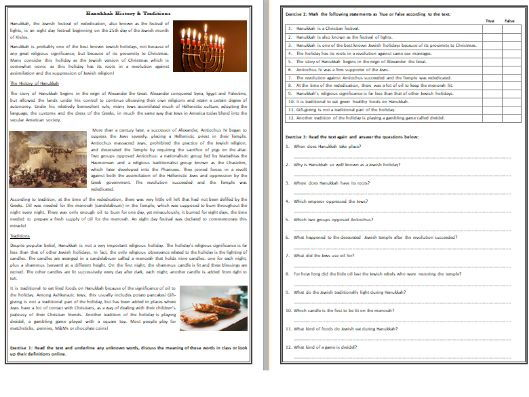 Hanukkah History & Traditions - Reading Comprehension Text / Worksheet