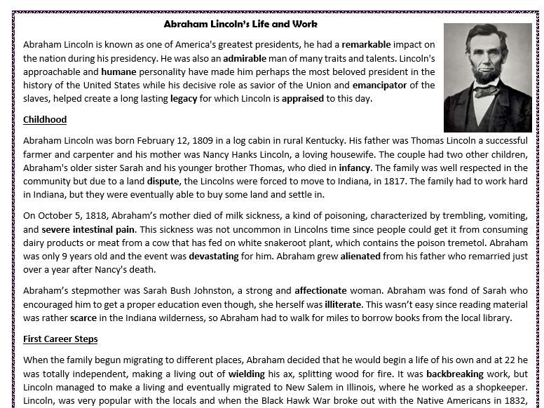 Abraham Lincolns Life and Work Reading Comprehension Worksheet – Abraham Lincoln Worksheets