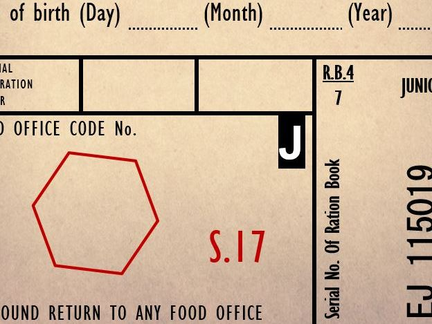 WW2 Ration Book - Writing Template
