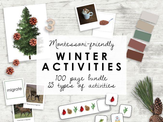 Montessori Kindergarten Worksheets | Winter Bundle