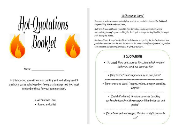 Romeo and Juliet and A Christmas Carol Quotations Intervention Booklet